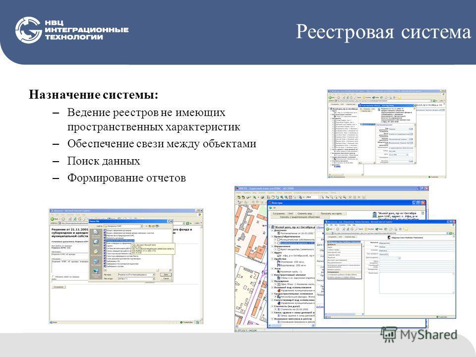 Реестровая система Назначение системы: – Ведение реестров не имеющих пространственных характеристик – Обеспечение свези между объектами – Поиск данных – Формирование отчетов