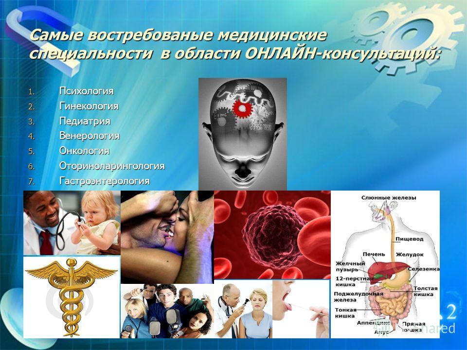 Самые востребованые медицинские специальности в области ОНЛАЙН-консультаций: 1. Психология 2. Гинекология 3. Педиатрия 4. Венерология 5. Онкология 6. Оториноларингология 7. Гастроэнтерология