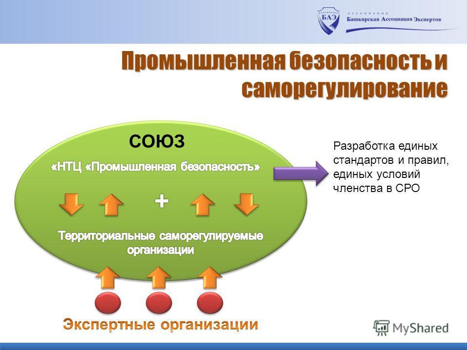 Промышленная безопасность и саморегулирование СОЮЗ Разработка единых стандартов и правил, единых условий членства в СРО