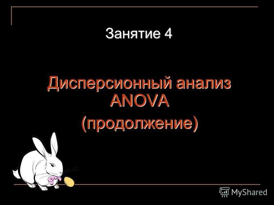 Занятие 4 Дисперсионный анализ ANOVA (продолжение)