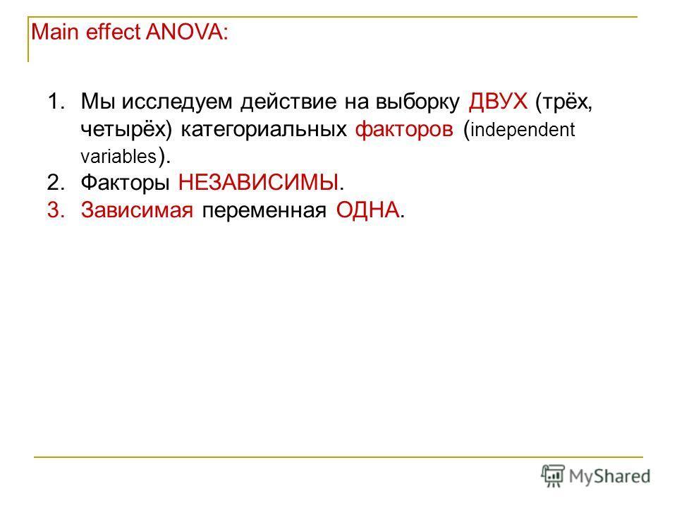 Main effect ANOVA: 1.Мы исследуем действие на выборку ДВУХ (трёх, четырёх) категориальных факторов ( independent variables ). 2.Факторы НЕЗАВИСИМЫ. 3.Зависимая переменная ОДНА.