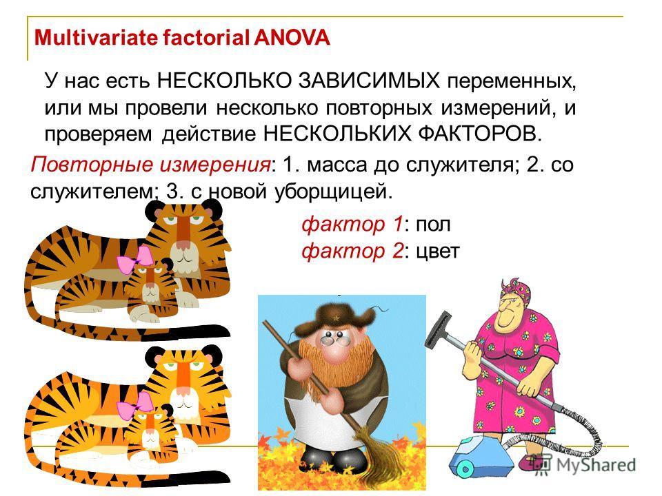 Multivariate factorial ANOVA У нас есть НЕСКОЛЬКО ЗАВИСИМЫХ переменных, или мы провели несколько повторных измерений, и проверяем действие НЕСКОЛЬКИХ ФАКТОРОВ. Повторные измерения: 1. масса до служителя; 2. со служителем; 3. с новой уборщицей. фактор
