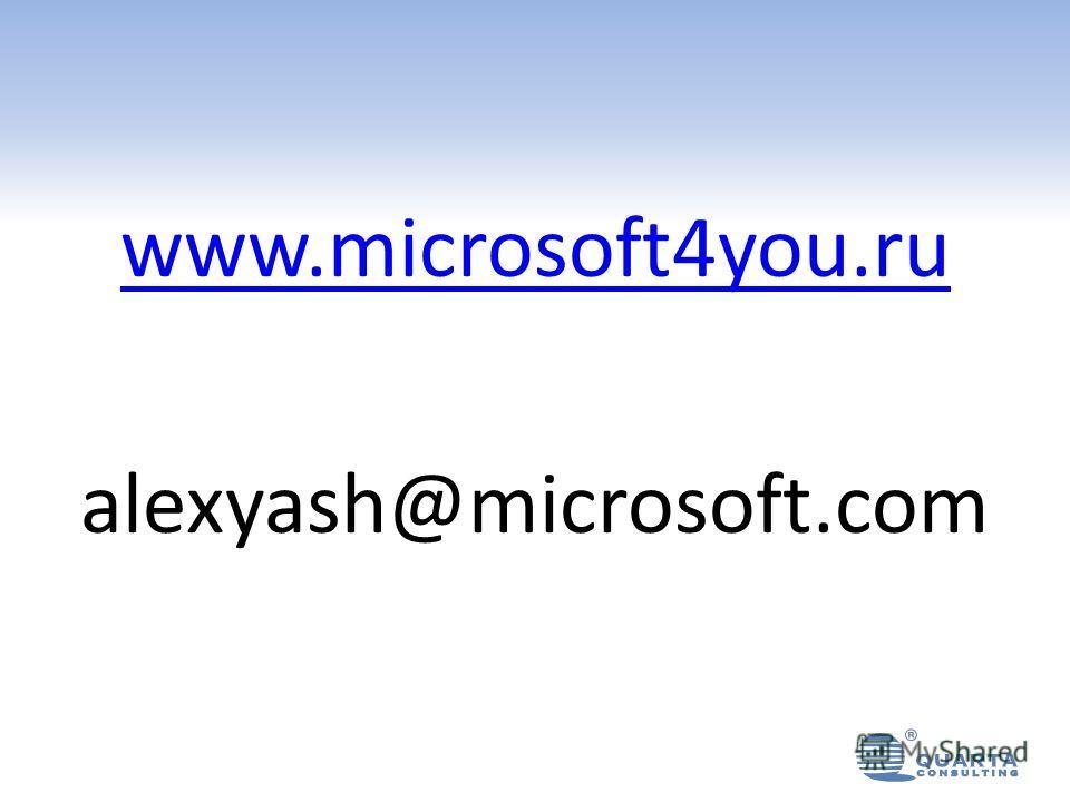 www.microsoft4you.ru alexyash@microsoft.com