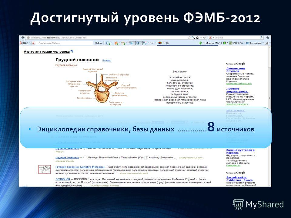 Достигнутый уровень ФЭМБ-2012 Энциклопедии справочники, базы данных ………….. 8 источников