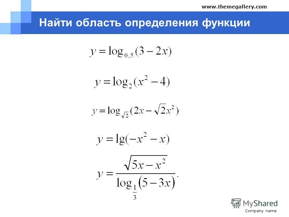 Company name www.themegallery.com Найти область определения функции 1. 2. 3. 1.