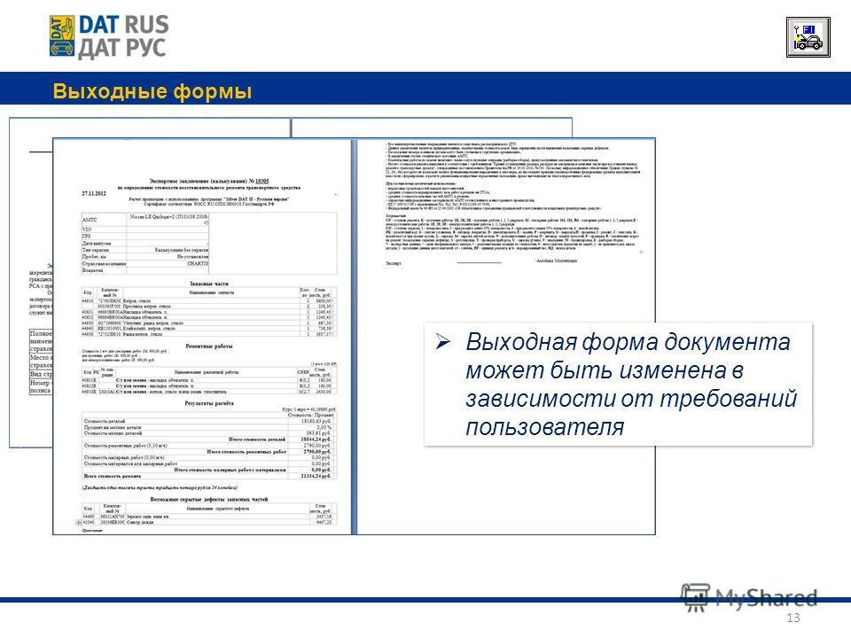 Выходные формы 13 Выходная форма документа может быть изменена в зависимости от требований пользователя