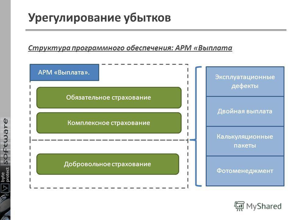 Урегулирование убытков Обязательное страхование Структура программного обеспечения: АРМ «Выплата Комплексное страхование АРМ «Выплата». Добровольное страхование Эксплуатационные дефекты Двойная выплата Калькуляционные пакеты Фотоменеджмент