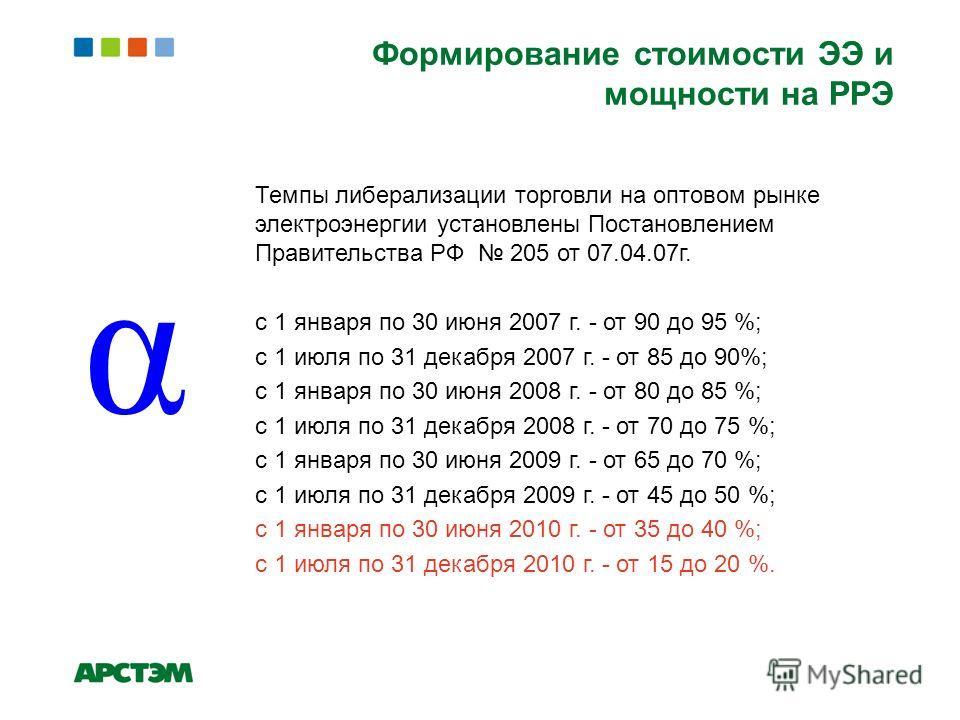 Темпы либерализации торговли на оптовом рынке электроэнергии установлены Постановлением Правительства РФ 205 от 07.04.07г. с 1 января по 30 июня 2007 г. - от 90 до 95 %; с 1 июля по 31 декабря 2007 г. - от 85 до 90%; с 1 января по 30 июня 2008 г. - о