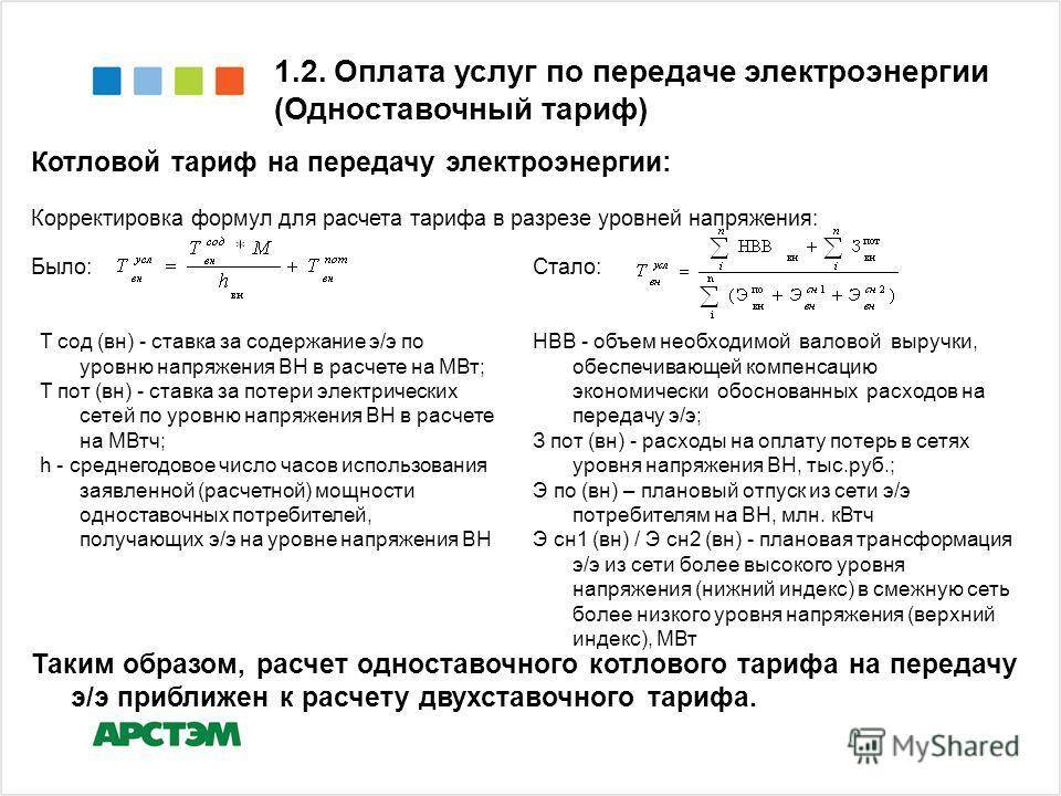 Котловой тариф на передачу электроэнергии: Корректировка формул для расчета тарифа в разрезе уровней напряжения: 1.2. Оплата услуг по передаче электроэнергии (Одноставочный тариф) Было:Стало: Т сод (вн) - ставка за содержание э/э по уровню напряжения