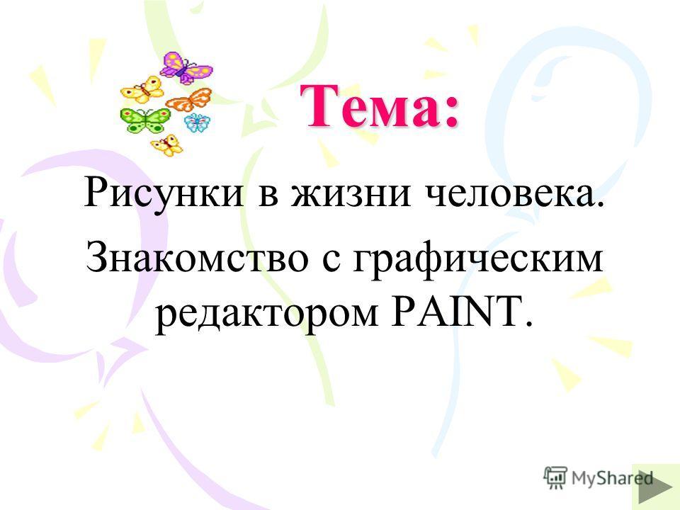 Тема: Рисунки в жизни человека. Знакомство с графическим редактором PAINT.
