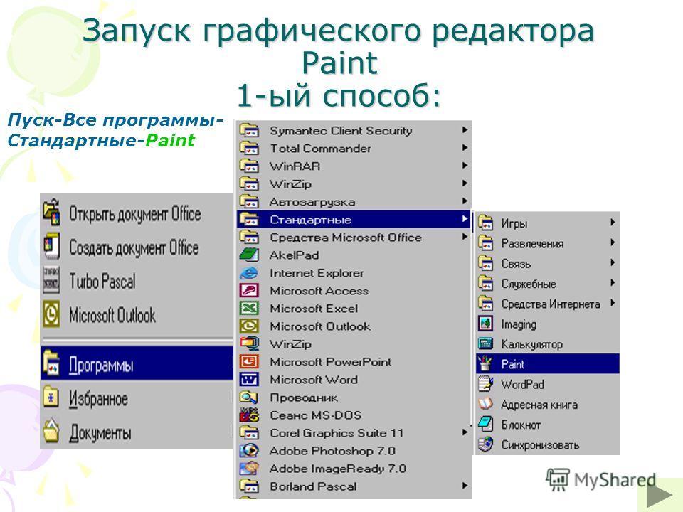 Запуск графического редактора Paint 1-ый способ: Пуск-Все программы- Стандартные-Paint
