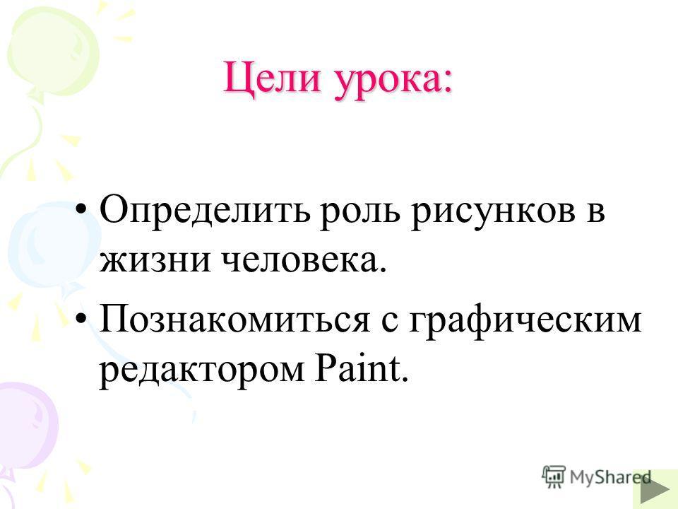 Цели урока: Определить роль рисунков в жизни человека. Познакомиться с графическим редактором Paint.