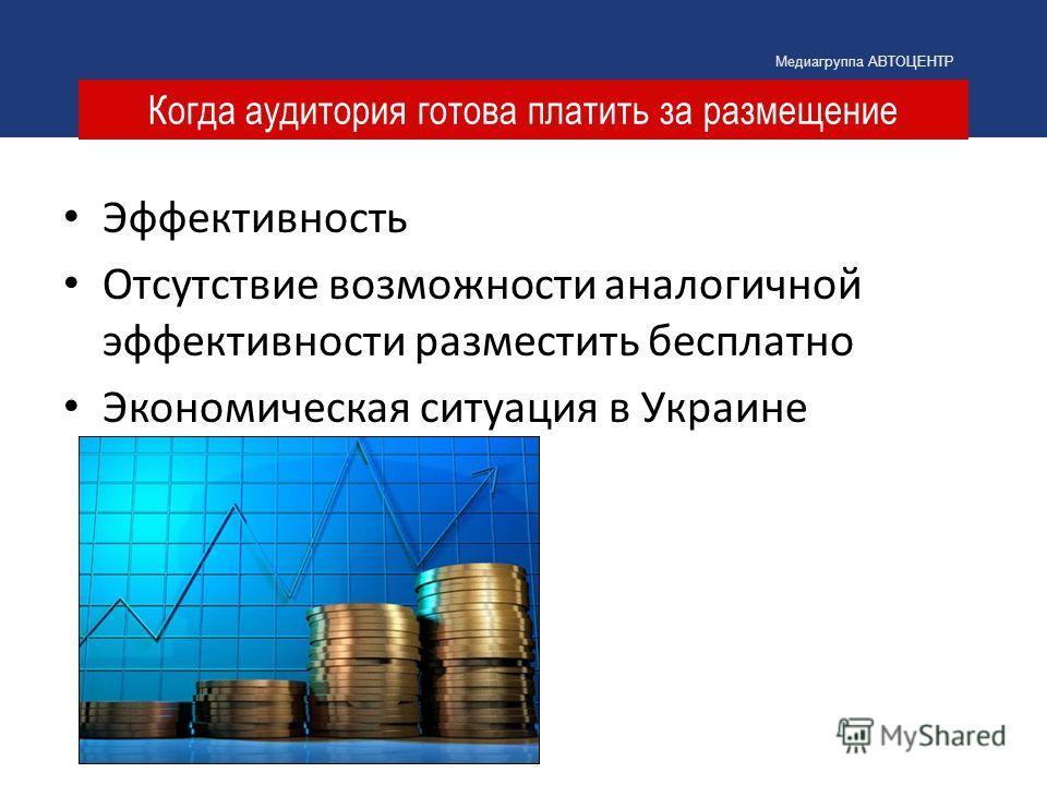 Когда аудитория готова платить за размещение Медиагруппа АВТОЦЕНТР Эффективность Отсутствие возможности аналогичной эффективности разместить бесплатно Экономическая ситуация в Украине
