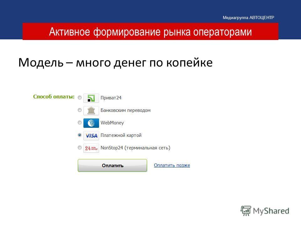 Активное формирование рынка операторами Медиагруппа АВТОЦЕНТР Модель – много денег по копейке