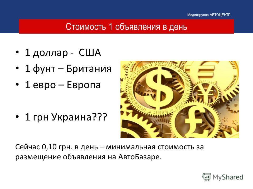 Стоимость 1 объявления в день Медиагруппа АВТОЦЕНТР 1 доллар - США 1 фунт – Британия 1 евро – Европа 1 грн Украина??? Сейчас 0,10 грн. в день – минимальная стоимость за размещение объявления на АвтоБазаре.