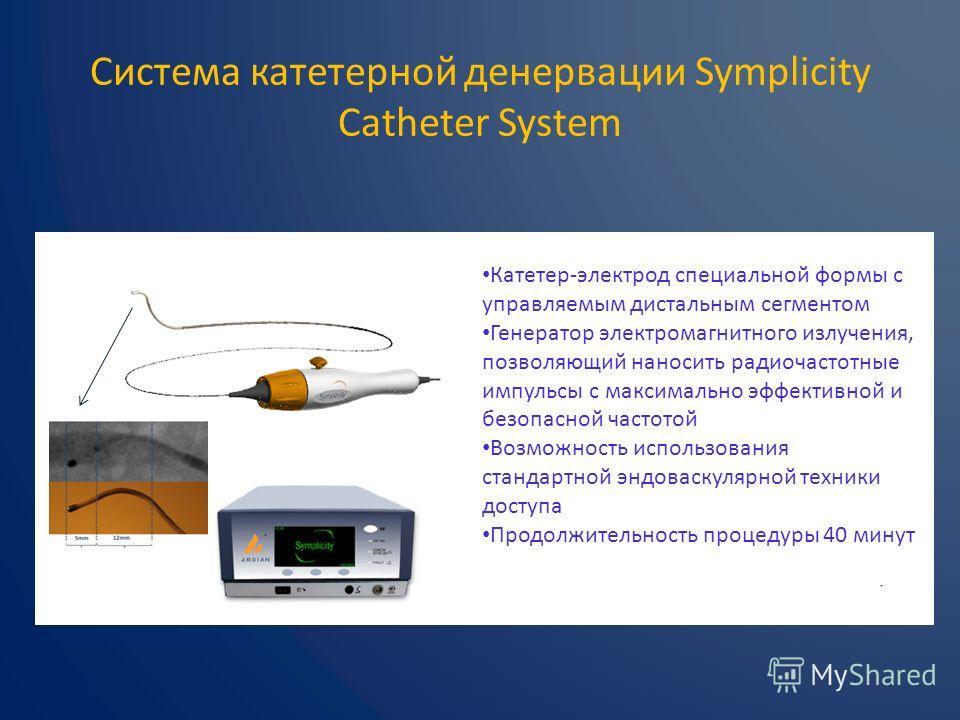 Система катетерной денервации Symplicity Catheter System Катетер-электрод специальной формы с управляемым дистальным сегментом Генератор электромагнитного излучения, позволяющий наносить радиочастотные импульсы с максимально эффективной и безопасной