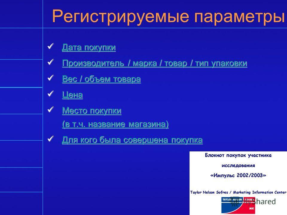 Регистрируемые параметры Дата покупки Дата покупки Дата покупки Дата покупки Производитель / марка / товар / тип упаковки Производитель / марка / товар / тип упаковки Производитель / марка / товар / тип упаковки Производитель / марка / товар / тип уп