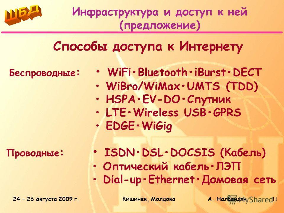 24 – 26 августа 2009 г.Кишинев, Молдова А. Налбандян11 Инфраструктура и доступ к ней (предложение) Способы доступа к Интернету Беспроводные : WiFiBluetoothiBurstDECT WiBro/WiMaxUMTS (TDD) HSPAEV-DOСпутник LTEWireless USBGPRS EDGEWiGig Проводные : ISD
