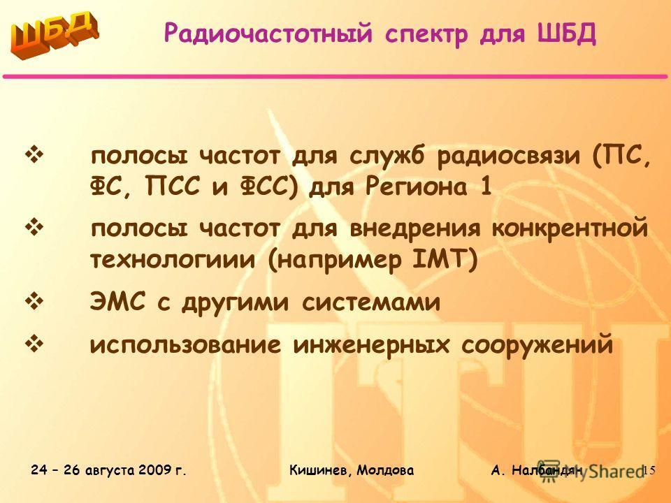 24 – 26 августа 2009 г.Кишинев, Молдова А. Налбандян15 Радиочастотный спектр для ШБД полосы частот для служб радиосвязи (ПС, ФС, ПСС и ФСС) для Региона 1 полосы частот для внедрения конкрентной технологиии (например IMT) ЭМС с другими системами испол