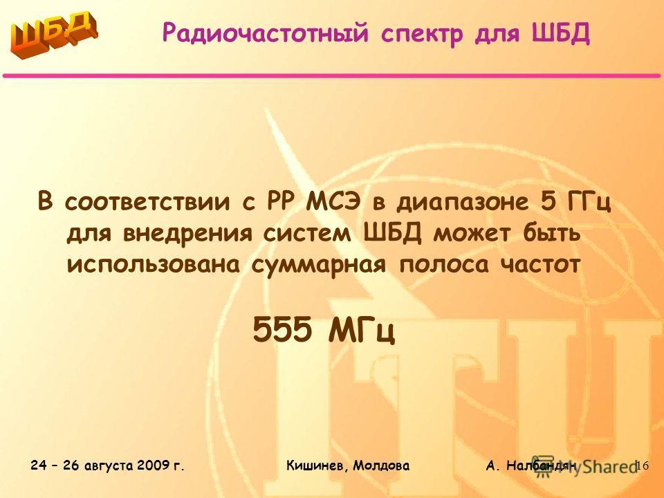 24 – 26 августа 2009 г.Кишинев, Молдова А. Налбандян16 В соответствии с РР МСЭ в диапазоне 5 ГГц для внедрения систем ШБД может быть использована суммарная полоса частот 555 МГц Радиочастотный спектр для ШБД