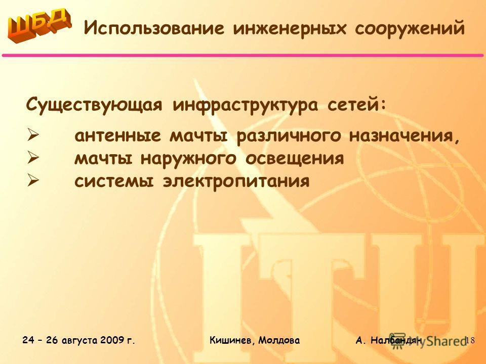 24 – 26 августа 2009 г.Кишинев, Молдова А. Налбандян18 Существующая инфраструктура сетей: антенные мачты различного назначения, мачты наружного освещения системы электропитания Использование инженерных сооружений