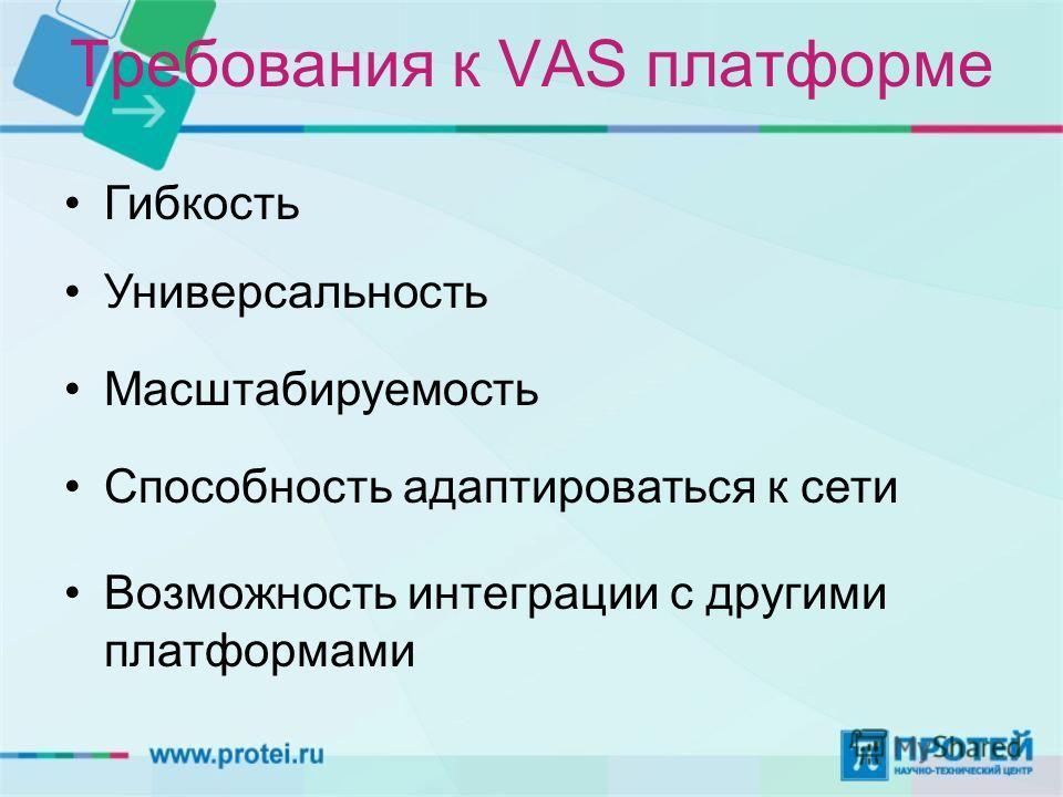 Требования к VAS платформе Гибкость Универсальность Масштабируемость Способность адаптироваться к сети Возможность интеграции с другими платформами