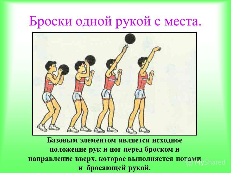 Броски одной рукой с места. Базовым элементом является исходное положение рук и ног перед броском и направление вверх, которое выполняется ногами и бросающей рукой.