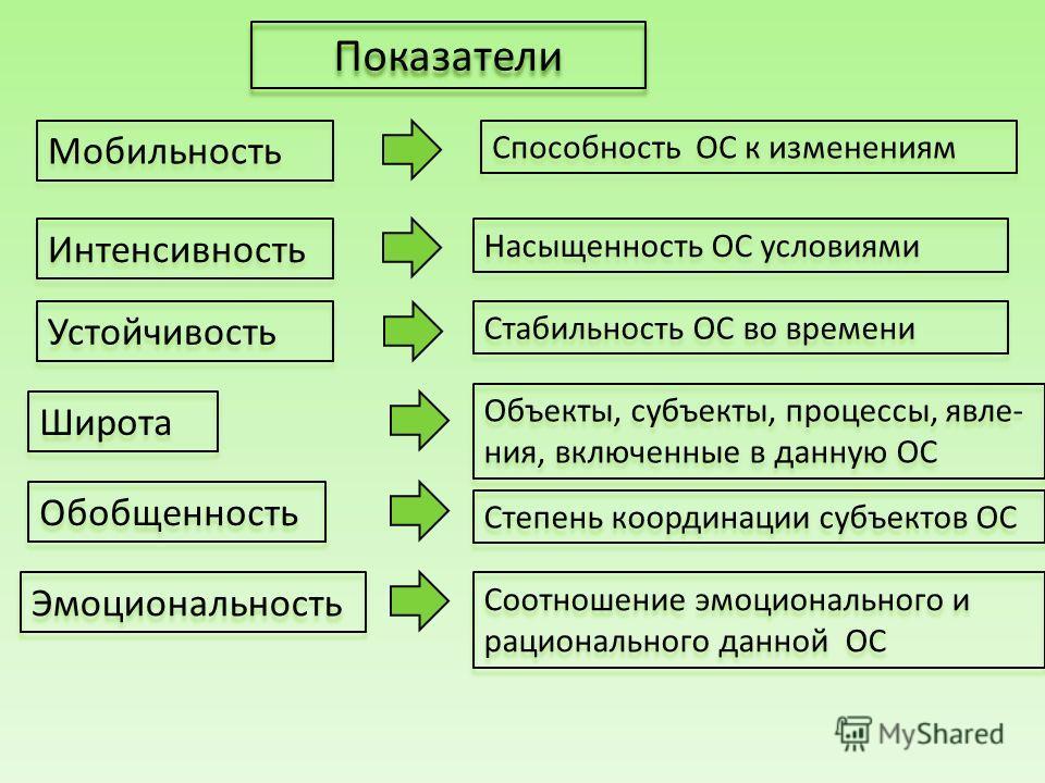 Мобильность Интенсивность Устойчивость Широта Обобщенность Эмоциональность Способность ОС к изменениям Насыщенность ОС условиями Стабильность ОС во времени Объекты, субъекты, процессы, явле- ния, включенные в данную ОС Степень координации субъектов О