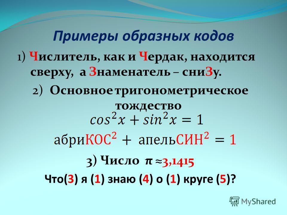 Примеры образных кодов 1) Числитель, как и Чердак, находится сверху, а Знаменатель – сниЗу. 2) Основное тригонометрическое тождество 3) Число π 3,1415 Что(3) я (1) знаю (4) о (1) круге (5)?