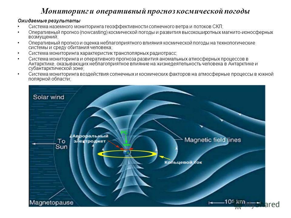 12 Мониторинг и оперативный прогноз космической погоды Ожидаемые результаты Система наземного мониторинга геоэффективности солнечного ветра и потоков СКЛ; Оперативный прогноз (nowcasting) космической погоды и развития высокоширотных магнито-ионосферн
