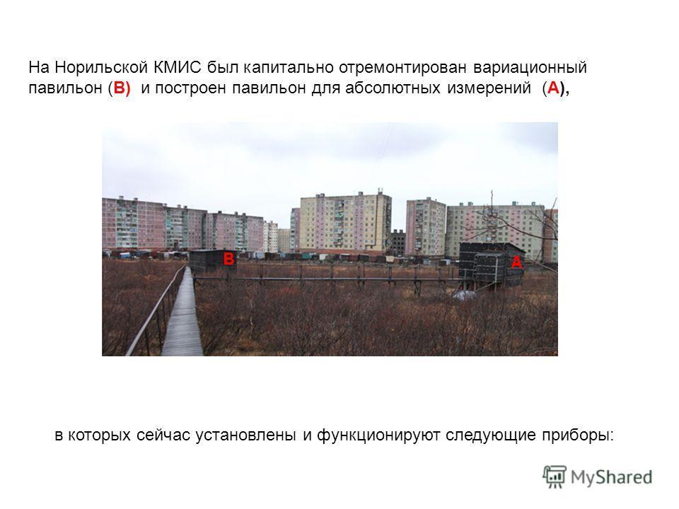На Норильской КМИС был капитально отремонтирован вариационный павильон (В) и построен павильон для абсолютных измерений (А), в которых сейчас установлены и функционируют следующие приборы: