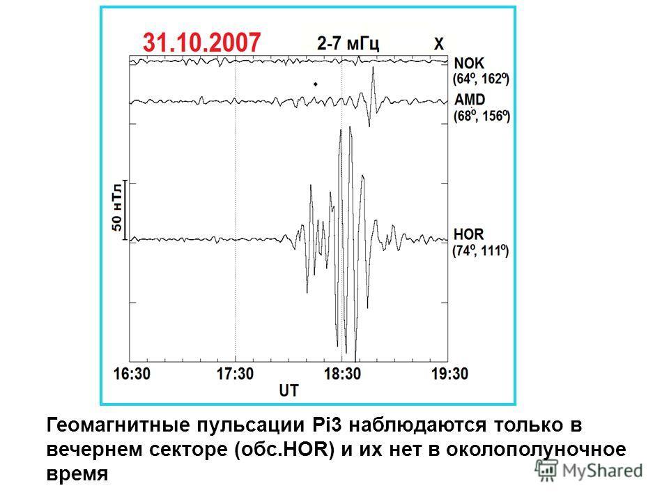 Геомагнитные пульсации Pi3 наблюдаются только в вечернем секторе (обс.HOR) и их нет в околополуночное время