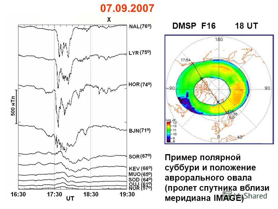 07.09.2007 DMSP F16 18 UT Пример полярной суббури и положение аврорального овала (пролет спутника вблизи меридиана IMAGE)