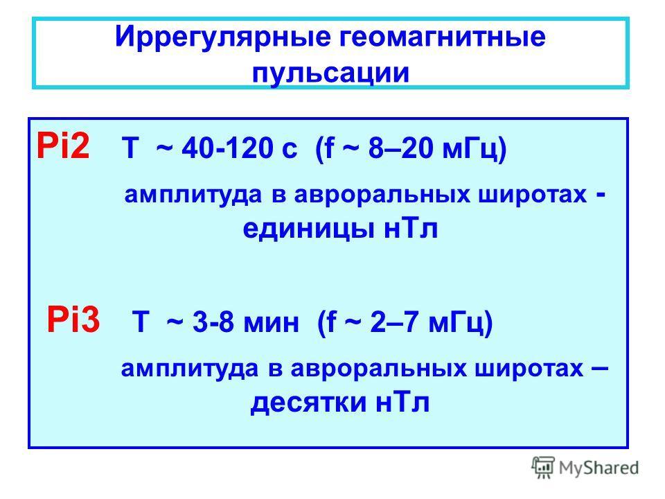 Иррегулярные геомагнитные пульсации Pi2 T ~ 40-120 с (f ~ 8–20 мГц) амплитуда в авроральных широтах - единицы нТл Pi3 T ~ 3-8 мин (f ~ 2–7 мГц) амплитуда в авроральных широтах – десятки нТл