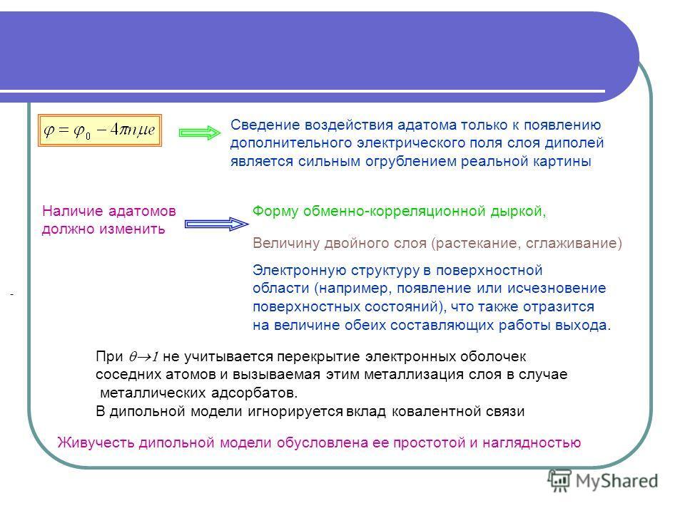 - Форму обменно-корреляционной дыркой, Наличие адатомов должно изменить Величину двойного слоя (растекание, сглаживание) Электронную структуру в поверхностной области (например, появление или исчезновение поверхностных состояний), что также отразится