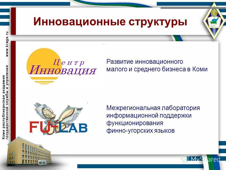 Инновационные структуры Развитие инновационного малого и среднего бизнеса в Коми Межрегиональная лаборатория информационной поддержки функционирования финно-угорских языков