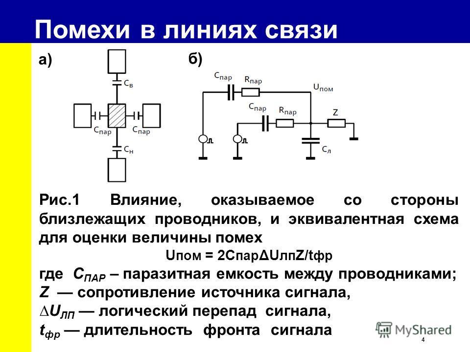 4 Помехи в линиях связи Рис.1 Влияние, оказываемое со стороны близлежащих проводников, и эквивалентная схема для оценки величины помех U пом = 2С пар ΔU лп Z/t фр где C ПАР – паразитная емкость между проводниками; Z сопротивление источника сигнала, U