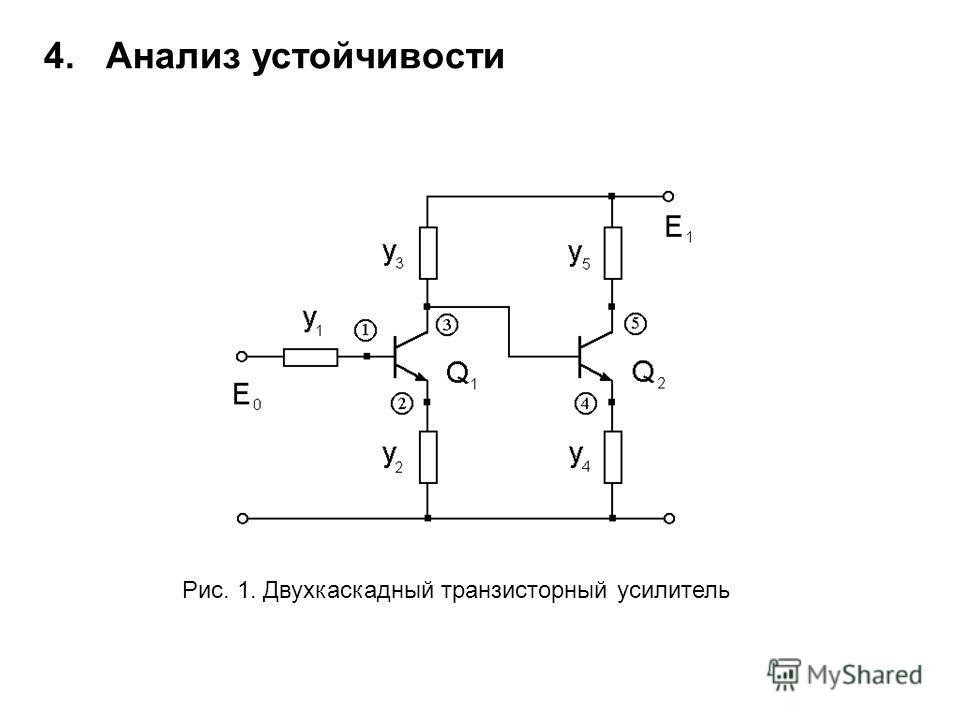 Рис. 1. Двухкаскадный транзисторный усилитель 4. Анализ устойчивости