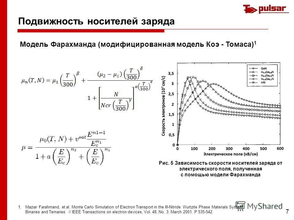 7 Подвижность носителей заряда Модель Фарахманда (модифицированная модель Коэ - Томаса) 1 1.Maziar Farahmand, et al. Monte Carlo Simulation of Electron Transport in the III-Nitride Wurtzite Phase Materials System: Binaries and Ternaries // IEEE Trans