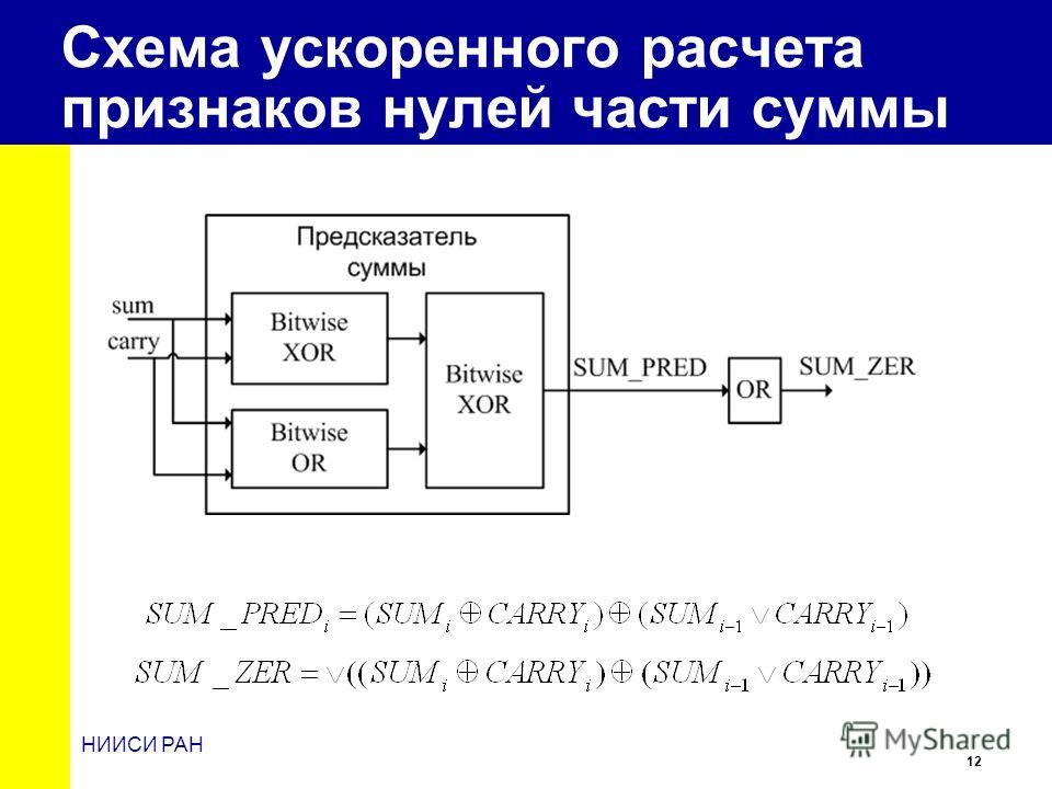 12 НИИСИ РАН Схема ускоренного расчета признаков нулей части суммы