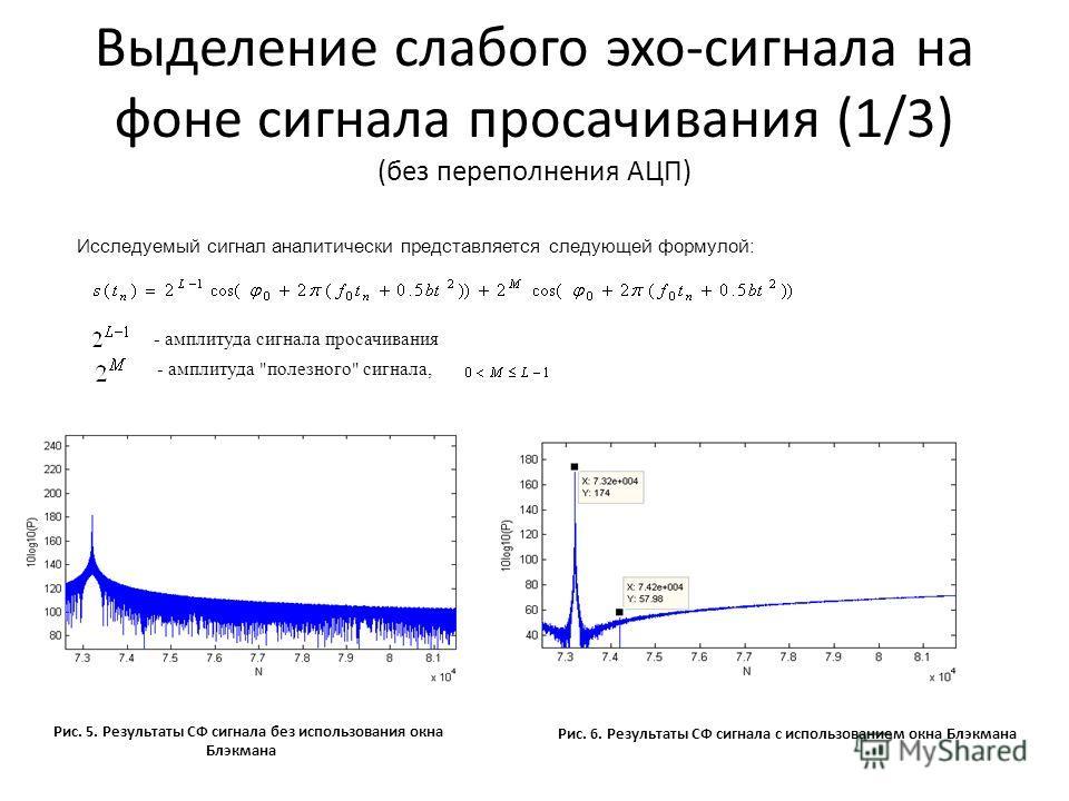 Выделение слабого эхо-сигнала на фоне сигнала просачивания (1/3) (без переполнения АЦП) Исследуемый сигнал аналитически представляется следующей формулой: - амплитуда сигнала просачивания - амплитуда