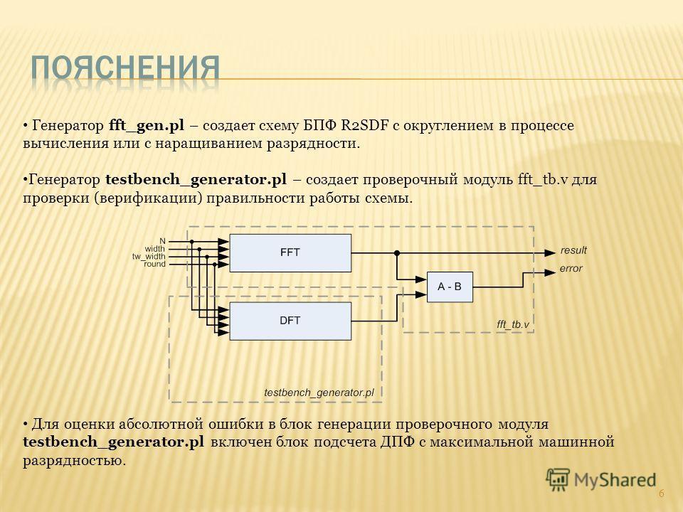 Генератор fft_gen.pl – создает схему БПФ R2SDF с округлением в процессе вычисления или с наращиванием разрядности. Генератор testbench_generator.pl – создает проверочный модуль fft_tb.v для проверки (верификации) правильности работы схемы. Для оценки