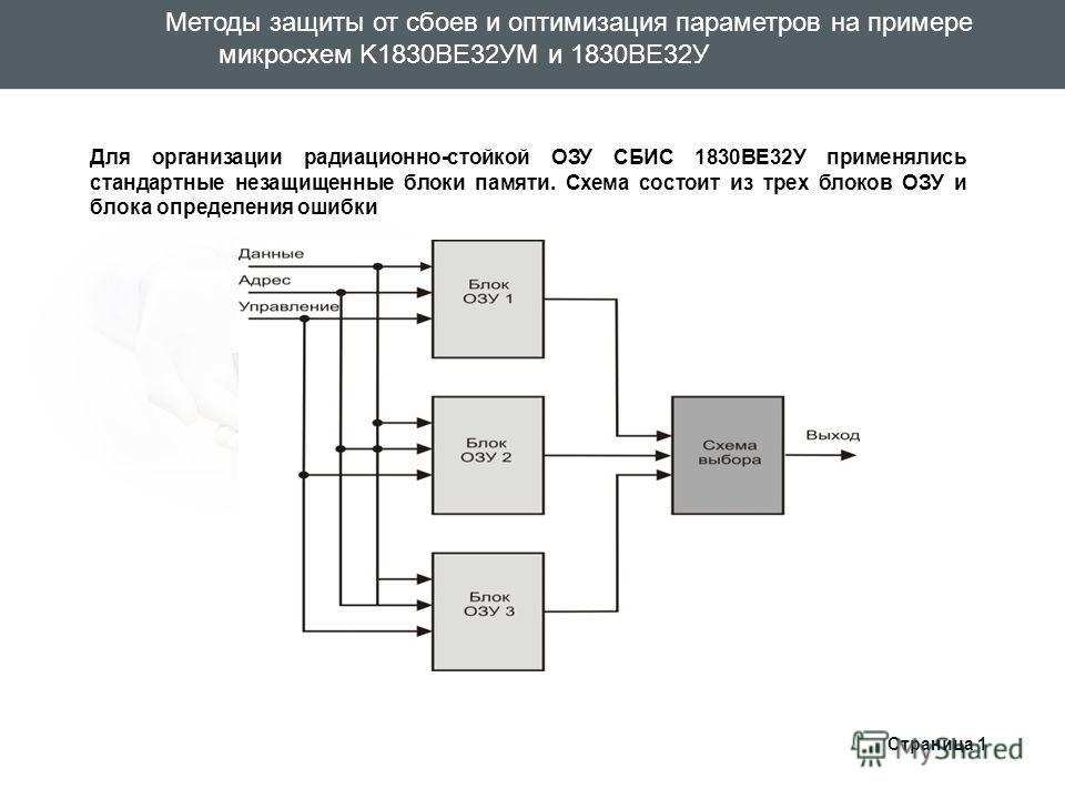 Для организации радиационно-стойкой ОЗУ СБИС 1830ВЕ32У применялись стандартные незащищенные блоки памяти. Схема состоит из трех блоков ОЗУ и блока опр
