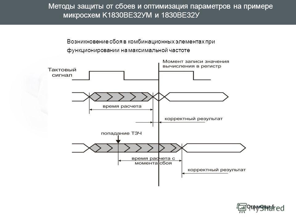 Страница 5 Возникновение сбоя в комбинационных элементах при функционировании на максимальной частоте Методы защиты от сбоев и оптимизация параметров