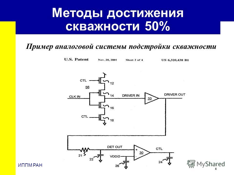 4 ИППМ РАН Методы достижения скважности 50% Пример аналоговой системы подстройки скважности