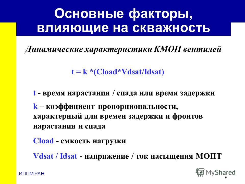 6 ИППМ РАН Основные факторы, влияющие на скважность t = k *(Cload*Vdsat/Idsat) Динамические характеристики КМОП вентилей t - время нарастания / спада или время задержки k – коэффициент пропорциональности, характерный для времен задержки и фронтов нар