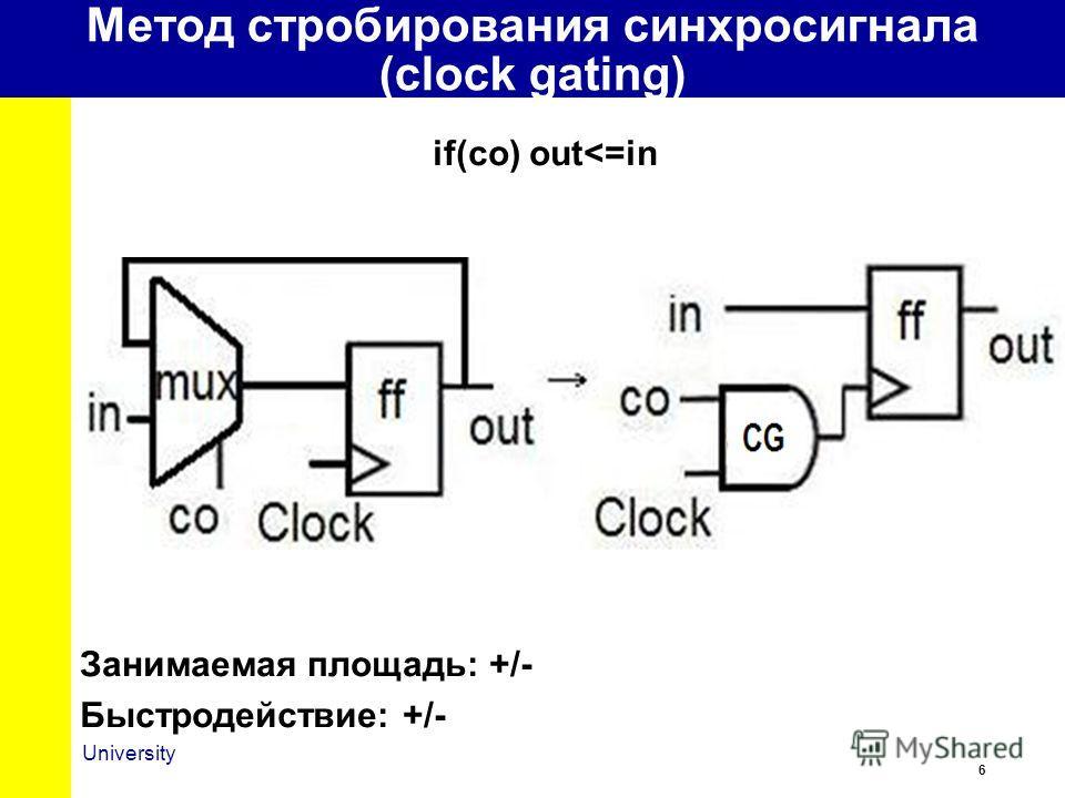 6 University Метод стробирования синхросигнала (clock gating) if(co) out