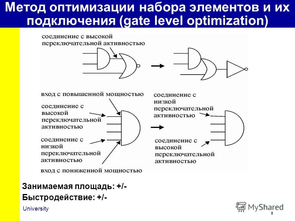8 University Занимаемая площадь: +/- Быстродействие: +/- Метод оптимизации набора элементов и их подключения (gate level optimization)