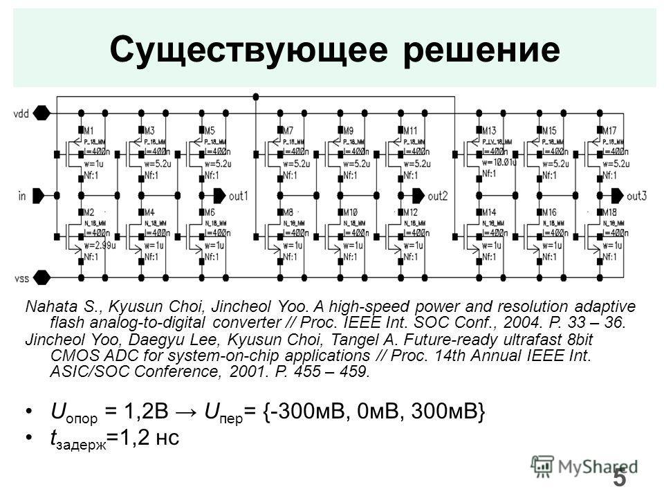 Существующее решение Nahata S., Kyusun Choi, Jincheol Yoo. A high-speed power and resolution adaptive flash analog-to-digital converter // Proc. IEEE Int. SOC Conf., 2004. P. 33 – 36. Jincheol Yoo, Daegyu Lee, Kyusun Choi, Tangel A. Future-ready ultr