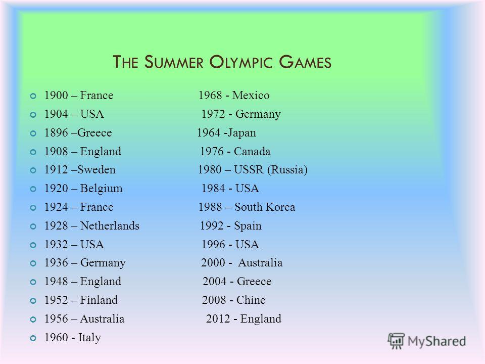 T HE S UMMER O LYMPIC G AMES 1900 – France 1968 - Mexico 1904 – USA 1972 - Germany 1896 –Greece 1964 -Japan 1908 – England 1976 - Canada 1912 –Sweden 1980 – USSR (Russia) 1920 – Belgium 1984 - USA 1924 – France 1988 – South Korea 1928 – Netherlands 1